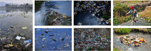 Pokhara city, Plastic wastes around Fewa lake.