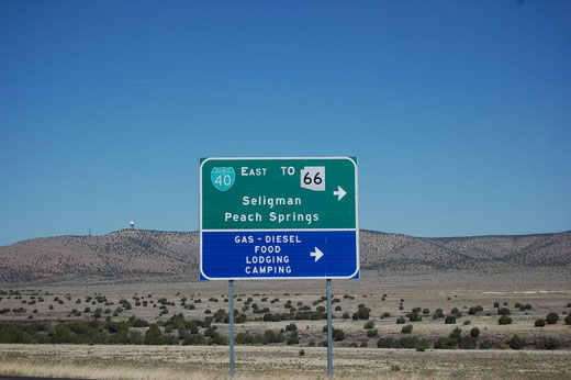 Ab hier Route 66 bis Seligman