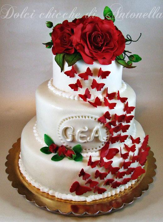 roses cake-torta rose la spezia-torte decorate liguria-www.dolcichicchediantonella.com