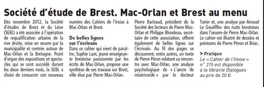 Le Télégramme, 27 novembre 2013