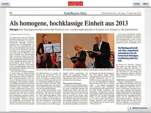 Oltner Tagblatt vom 17.12.13
