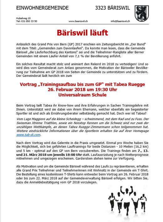 Tabea und Martin Ruegge im Einsatz für Bäriswil läuft
