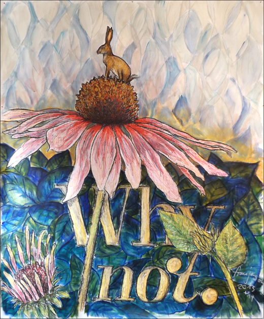 frau jenson, 'Why not, Hase auf Echinacea im Morgenrot', Mischtechnik, 120 x 140 cm