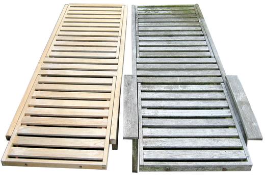 vergrautes holz im au enbereich reinigen und auffrischen holz jaeger tropenholz terrasse. Black Bedroom Furniture Sets. Home Design Ideas