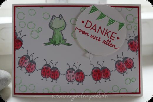 Dankeschön mit Frosch und Marienkäfern - Patricia Stich 2016