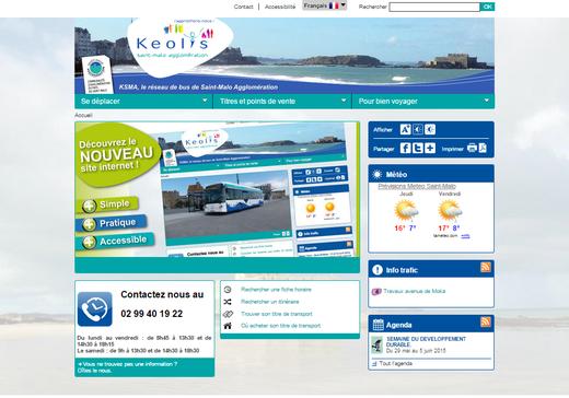 Capture d'écran du nouveau site internet du réseau Kelois Saint-Malo Agglomération.