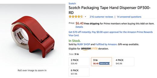 アメリカの梱包用テープ。写真の様な専用カッターか、はさみが必要。