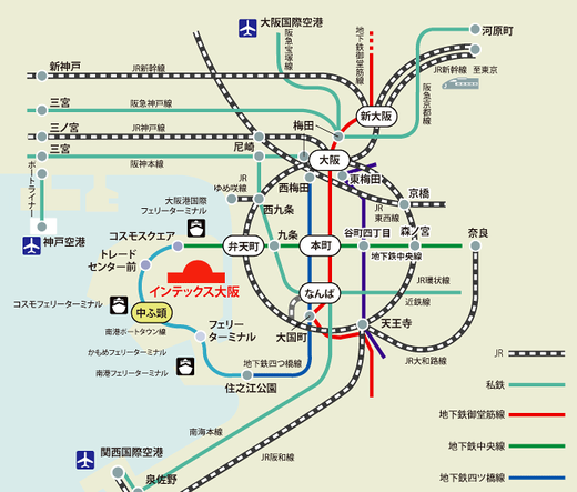 路線図:インテックス大阪で防災シェルター展示
