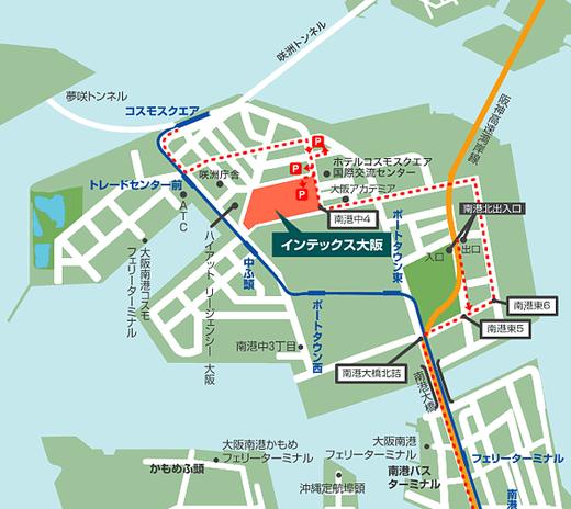 詳細地図:インテックス大阪で防災シェルター展示