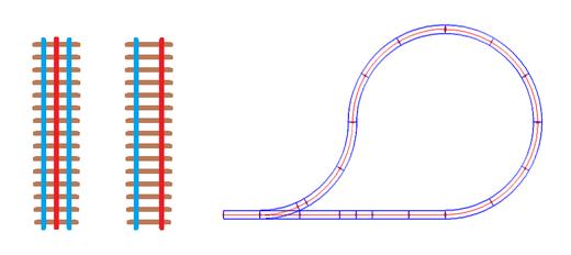 Links: Vergleich 3 Schienen 2 Leiter zu 2 Schienen 2 Leiter. Rechts eine Kehrschleife mit dem 3 Schienen Gleis und dem dadurch unproblematischen Aufeinandertreffen der Außenschienen.