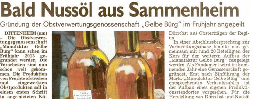 Bald Nussöl aus Sammenheim
