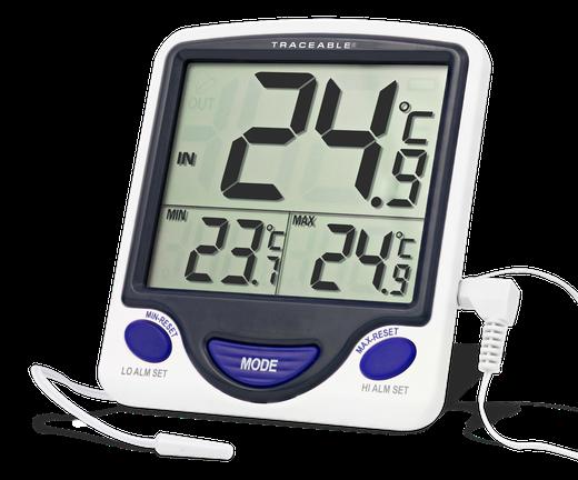 Termómetro digital con sonda plástica externa y certificado trazable a NIST 4148