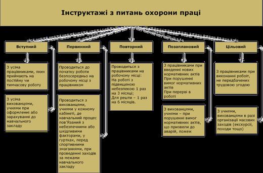 Види інструктажів з питань ОП