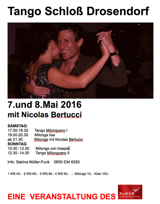 Tangoworkshop 2016 mit Nicolas Bertucci vom 7. bis 8. Mai im Schloss Drosendorf