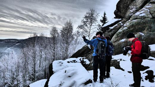 Peilungsnavigation auf einer unserer Wanderungen im Harz