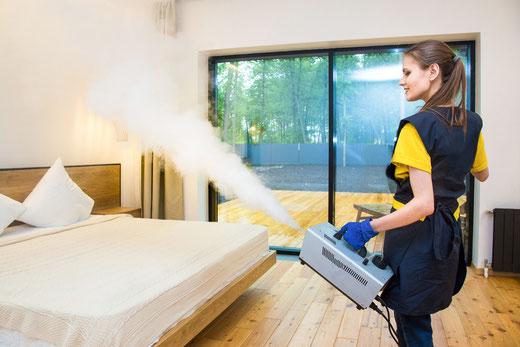 Kaltvernebelung im Einsatz von Innenräumen zur Reinigung der Raumluft.