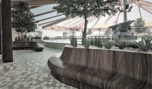 XPS Coatings by pilzdesign Sitzbänke auf fast 200 Metern Länge in Holzoptik + Moosoptik