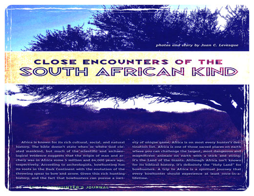 Juan C. Levesque; Feature Magazine Article (Texas Bowhunter's Journal).