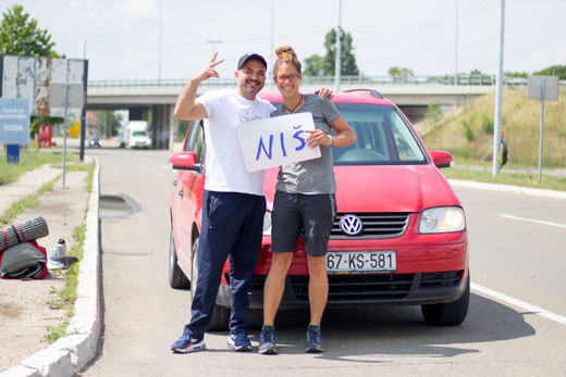 Sascha and Viviane at the drop off place in Nisch, Serbia