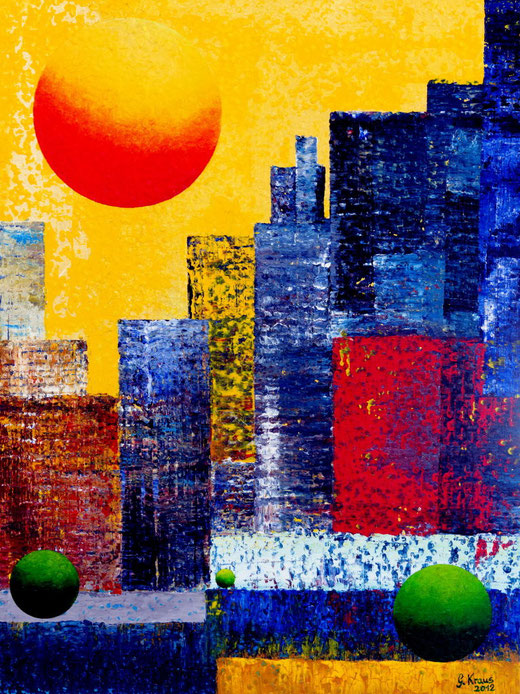 New York, Skyline, Sonne, abstract,abstrakt, Stadt, Städte, City, Cities, Kunst, Künstler, Gerhard Kraus. Art, Artist, Malerei, Illustration,Kriftel, Farbben, Bunt, USA, Amerika
