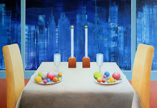 New York, Skyline, Dinner, abstrakt, abstract, Stadt, Städte, City, Cities, Gerhard Kraus, Künstler, Kriftel, Kunst, Art, Artist, Gemälde, Illustration Malerei, USA, Amerika,Farben, Bunt