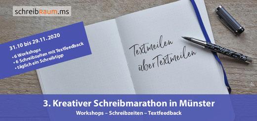 Der Flyer zum Schreibmarathon im Schreibraum in Münster.
