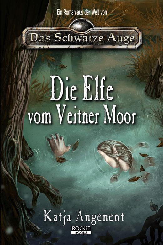 Cover von Katja Angenent, Die Elfe vom Veitner Moor, Rocket Books 2020. Ein Roman aus der Welt von Das Schwarze Auge.