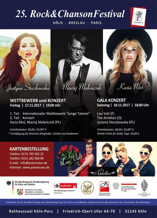 """Plakat des 25. Rock & ChansonFestivals """"Köln-Breslau-Paris""""  - Polonica e.V."""