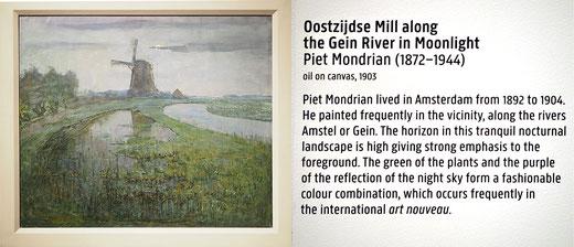Bild: Oostzijdse Mühle am Gein-Fluß im Mondlicht, Piet Mondrian, 1903, Rijksmuseum Amsterdam