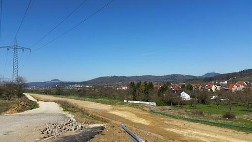 Blick auf Gingen, links ist der Hochenstaufen zu erkennen
