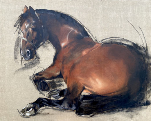 Big painting of a brown Groninger horse lying down