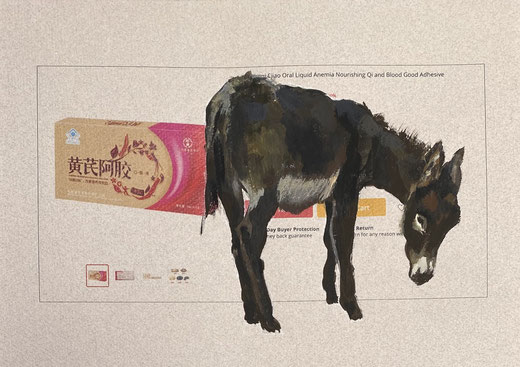 Painting of a donkey over an advertisement with pink medicine box