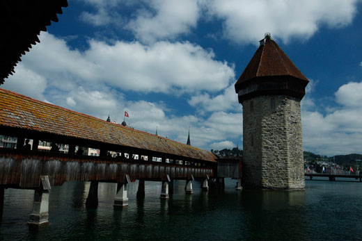 Historic bridge Lucerne, Chapel Bridge, Switzerland