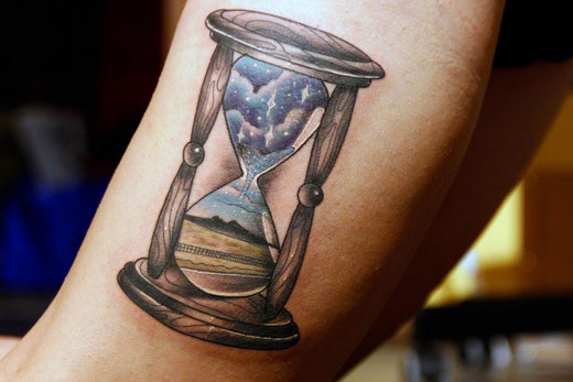 Sanduhr Tattoo, Sterne, Universum, Wyoming, Heart Mountain