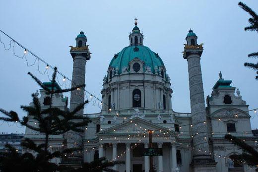Christmas Market at Karlskirche, Vienna, Austria