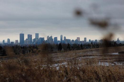 Skyline von Calgary, Kanada im Winter, Alberta