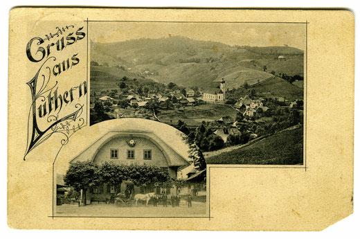 Luthern Dorf mit Gasthaus Sonne,  Postkarte Gruss aus Luthern, Verlag S. Birrer, Zur Sonne Luthern, Poststempel Luthern 2.1.1914  (LD 11)