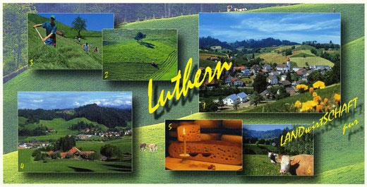 """Luthern, Ansichtskarte """"LANDwirtSCHAFT pur"""" 2002, Fotos Pius Häfliger (LD 34)"""