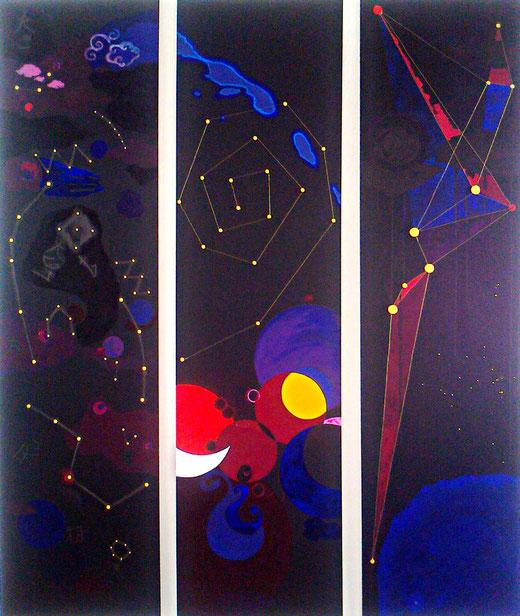 Ellen Roß: Parallele Welten n°1, 2012, 3 Platten a ca.50x160cm, Acryl, Tusche, Draht und Holz auf MDF