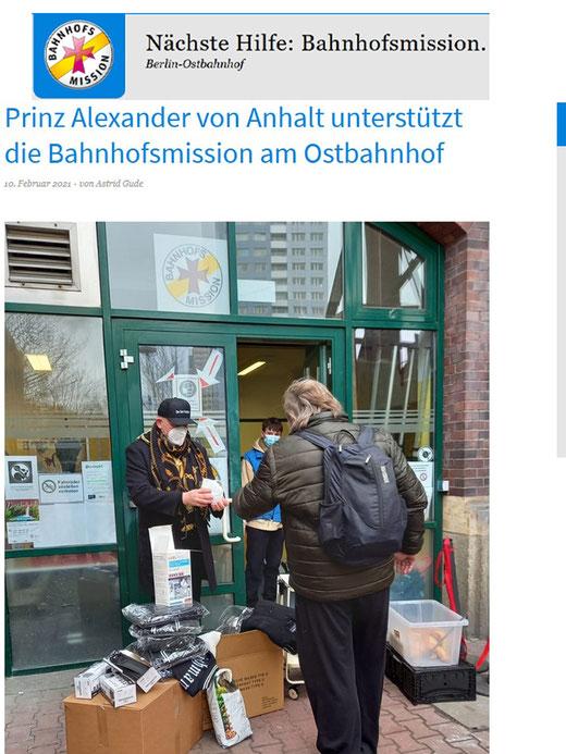 Bahnhofsmission Berlin - Prinz Alexander von Anhalt unterstützt die Bahnhofsmission Ostbahnhof in Berlin.     Prominente Unterstützung in unserer Bahnhofsmission am Ostbahnhof: Prinz Alexander von Anhalt spendierte Helfern und Gästen OP- und FFP2-Masken.