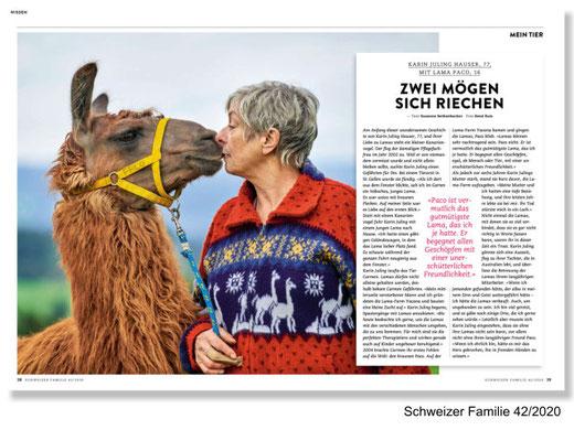 Beitrag über Lama «Paco» in der «Schweizer Familie».