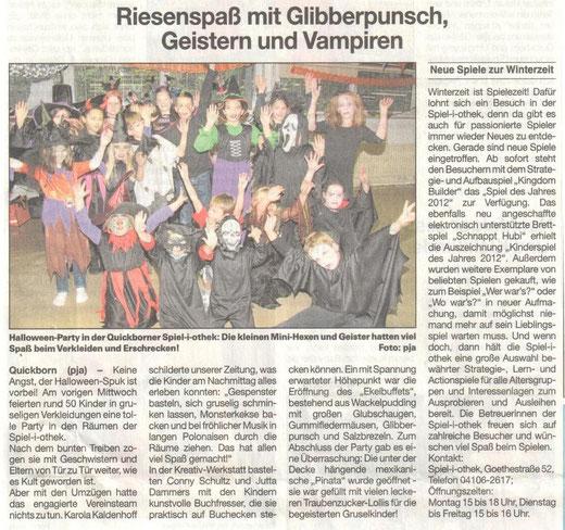 Quickborner Umschau vom 07.11.2012 zur Helloweenparty