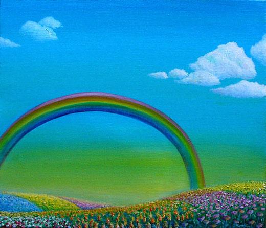 虹と花畑の丘 F10/油彩