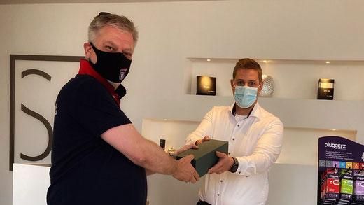 SSV-Geschäftsführer Frank Kuczinski stattete Schmitz Hörsysteme einen Begrüßungsbesuch ab. (Foto: SSV)