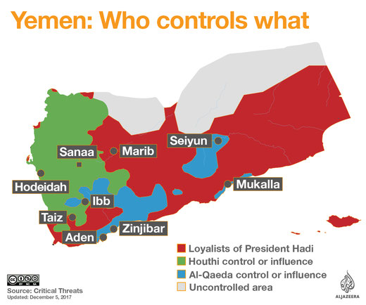 Stand 05.12.2017 - Jemen-Konflikt: Wer kontrolliert was? Quelle Al Jazeera 06.02.2018