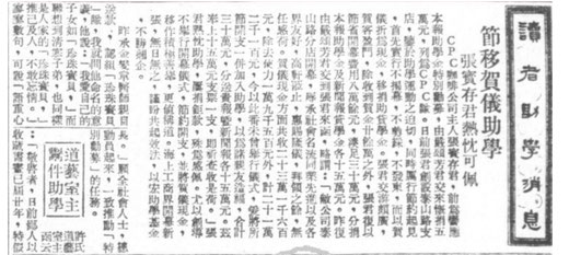 C.P.C.'s donation to the charitable campaign organized by Shunpao and Xinwenbao (The News) Shanghai newspapers