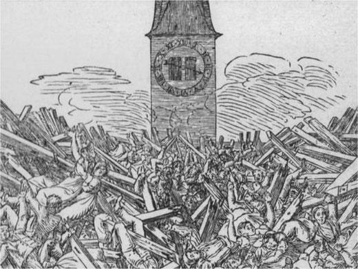 Grosses Unglück vor 200 Jahren. Holzschnitt, erschienen 1821 im Zürcher Kalender