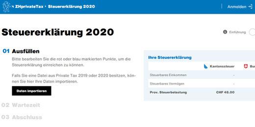 Neu kann die Steuererklärung im Kanton Zürich komplett digital eingereicht werden. Bild: Screenshot ZHprivateTax2020