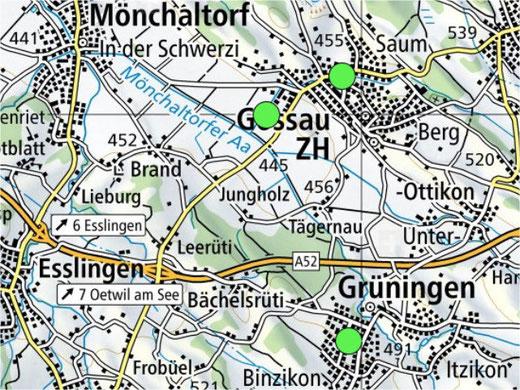Drei 5G-Antennen sind derzeit in Gossau und Grüningen aktiv. Bild: Geo-Karte vom BAKOM