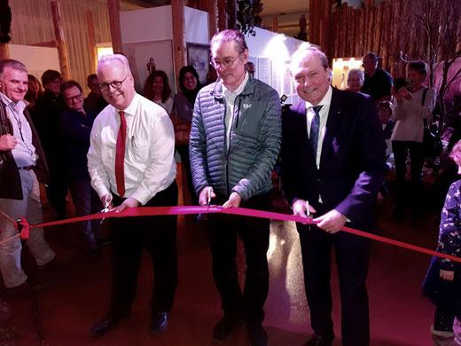 Feierliche Eröffnung der neuen Galerien. Im Bild: Thomas Binder, Vincent Escriba, Jörg Kündig (v.l.n.r.)